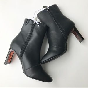 A New Day Black Booties with Tortoise Shell Heel